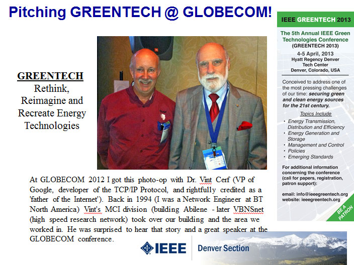 Pitching Greentech at Globecom